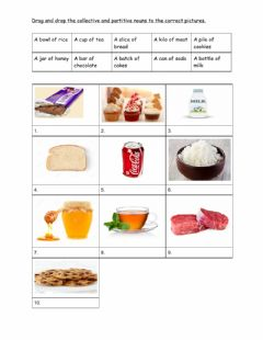 Interactive worksheet Collective & partitive nouns for food and drinks