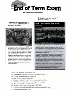 Interactive worksheet End of term exam - Reading and Listening