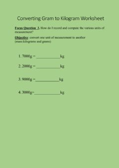 Interactive worksheet Converting Gram to Kilogram