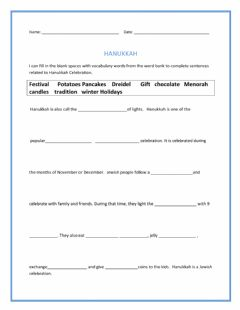 Interactive worksheet Hanukkah