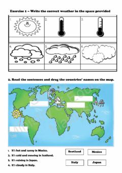Interactive worksheet Holiday weather