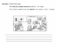 Ficha interactiva Writing and Adjectives
