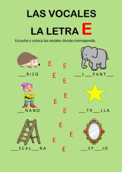Interactive worksheet Las vocales - la e