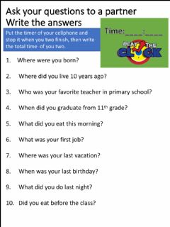 Interactive worksheet Quick questionary - simple past questions