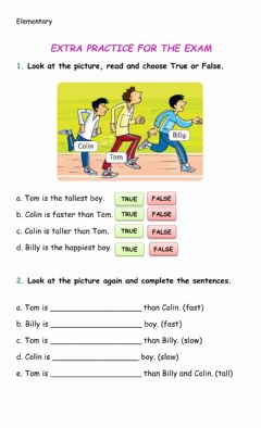 Ficha interactiva Elementary - Revision for the final exam