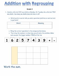 Ficha interactiva Problem solving with addition with regrouping
