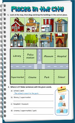 Interactive worksheet Places in the City - Prepositions of place