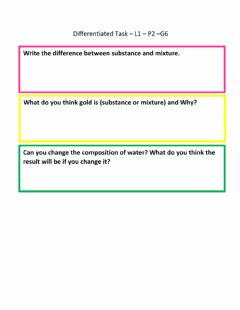 Interactive worksheet Substance and mixture