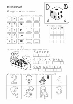 Interactive worksheet Lettera D
