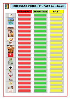Interactive worksheet IRREGULAR VERBS 6º PAST to be - to dream (20)