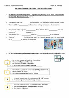 Interactive worksheet End of term Exam - Reading & Listening  V