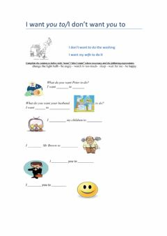 Interactive worksheet I want you to-I don't want you to