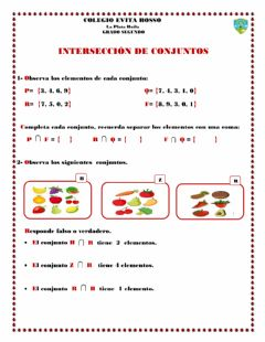 Interactive worksheet Intersección de conjuntos