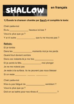 Interactive worksheet Shallow en français