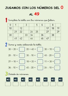 Interactive worksheet Los números hasta el 49