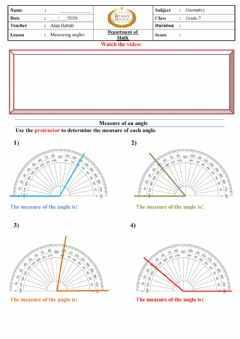 Interactive worksheet Measuring of angles