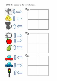 Interactive worksheet UP DOWN RIGHT LEFT directions