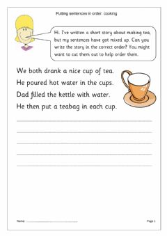 Interactive worksheet Putting sentences in order