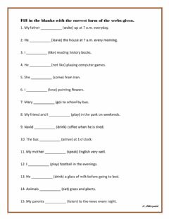 Interactive worksheet Simple Present Tense Exercise