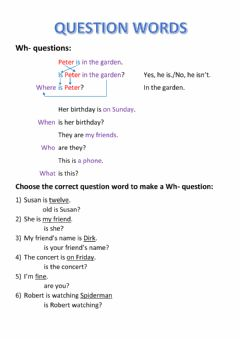 Interactive worksheet Question words, wh- questions
