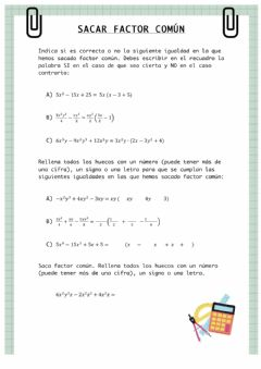 Interactive worksheet Sacar factor común