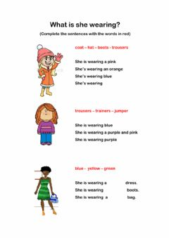 Interactive worksheet What is she wearing