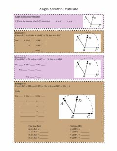 Ficha interactiva Angle Addition Postulate Notes