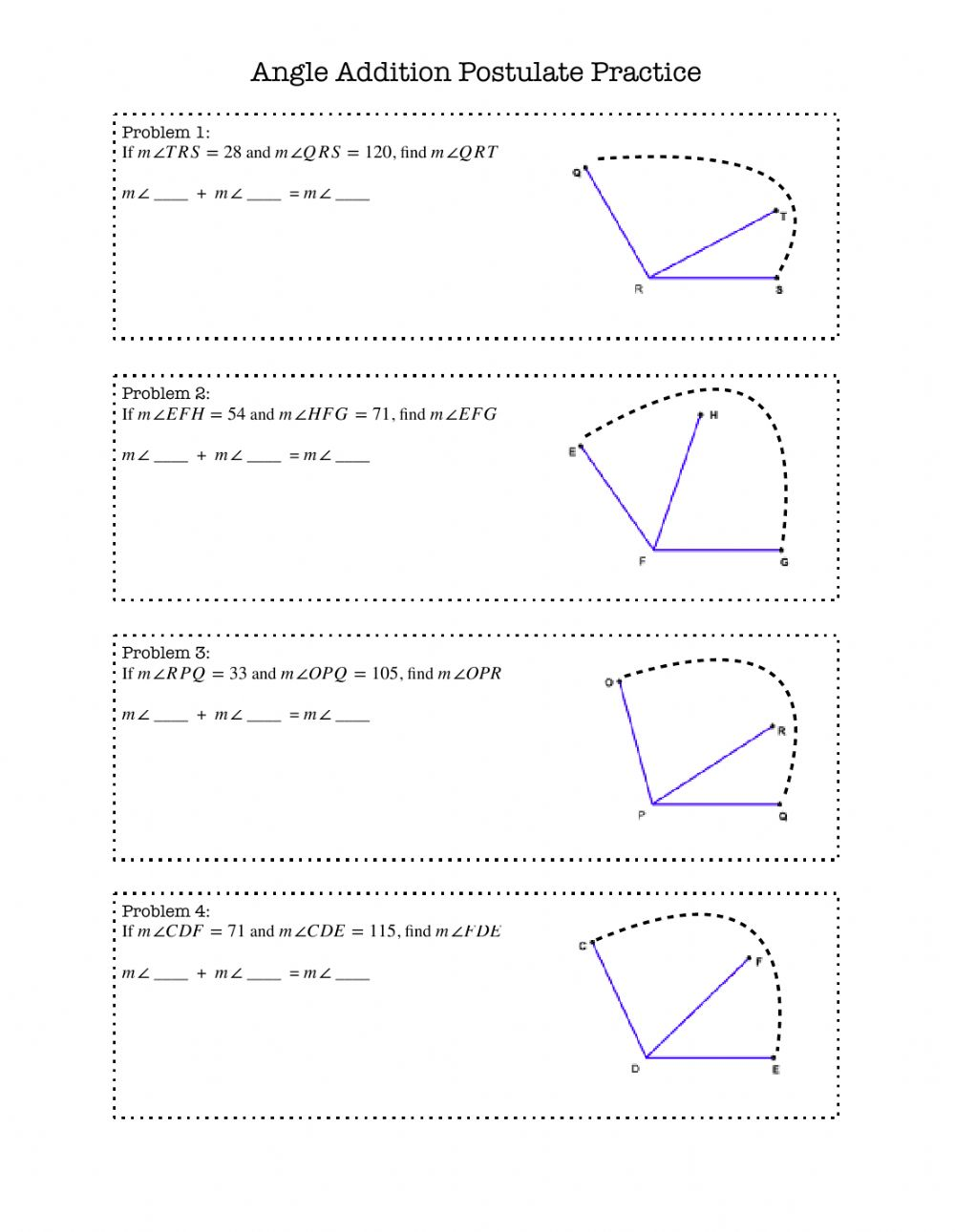 Angle Addition Postulate Numerical Practice worksheet