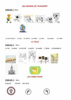 Interactive worksheet La ville-les transports-les directions