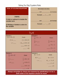 Interactive worksheet Solving Two Step Equations Notes