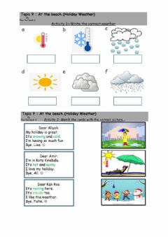 Ficha interactiva Topic 9 At the beach (Holiday Weather)