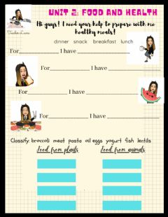 Interactive worksheet Unit 2: Food and Health