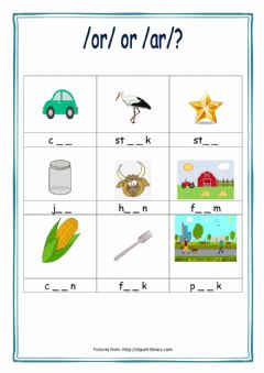 Interactive worksheet -or- or -ar-