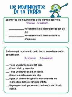 Interactive worksheet Los movimientos de la Tierra