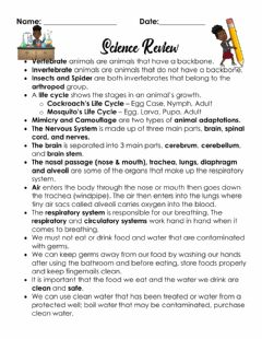 Interactive worksheet Science Review