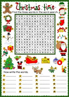 Interactive worksheet Christmas time - word search