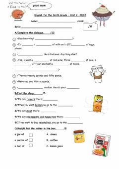 Interactive worksheet English for the Sixth Grade Unit 2 Test