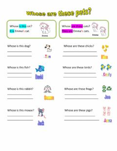 Interactive worksheet Whose are these pets