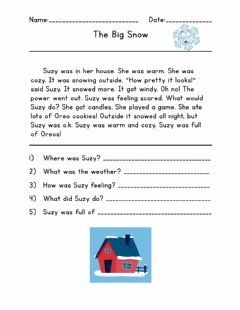 Interactive worksheet Reading Comprehension The Big Snow