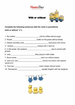Interactive worksheet With - Without