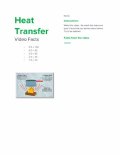 Interactive worksheet Heat Transfer (Conduction, Convection, and Radiation) Video Facts