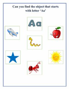 Interactive worksheet Find the object that starts with letter 'Aa'