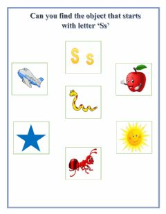 Ficha interactiva Find the object that starts with letter 'Ss'
