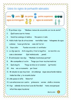 Interactive worksheet Signos de Puntuación. Test 1