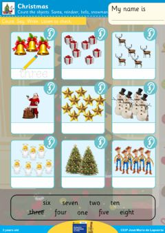 Interactive worksheet Christmas counting