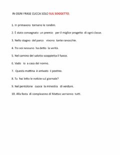 Interactive worksheet Trova il soggetto