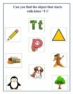 Interactive worksheet Find the object that starts with letter 'T t'