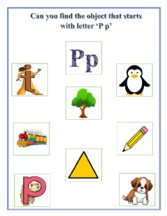 Interactive worksheet Find the object that starts with letter 'P p'