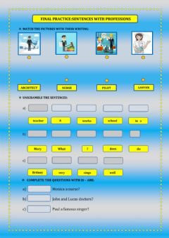 Interactive worksheet Sentences with professions