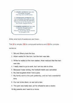 Interactive worksheet Types of Sentence Structure
